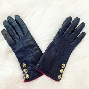 NEW Coach Leather Park Turnlock Navy Blue Gloves